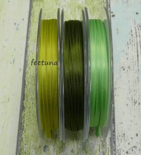 10 m Satinband (0,29€/m) grün moosgrün hellgrün 3mm Hochzeit LuxusSatin waschbar