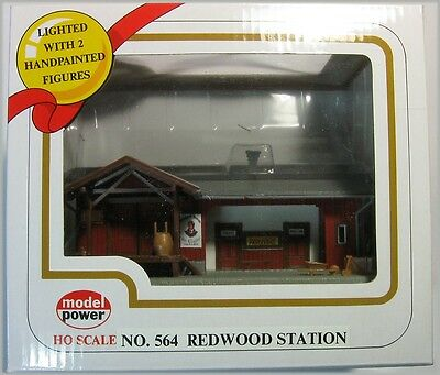 Model Power 564 HO Scale Built Up Redwood Station Lighted with Figures