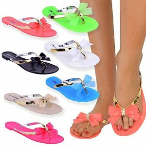 06b5bbc80 Womens Ladies Toe Bow Diamante Jelly Flat Summer Flip Flop Thong ...