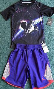 085eb3879f4b8f NWT Nike Air Jordan Boys XL Black Purple Space Dunk Dri-Fit Shorts ...