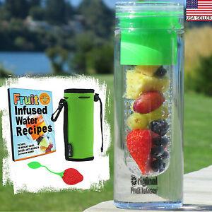 Water Bottle Fruit Infuser 25 oz Insulated Koozie + Tea Infuser Recipes PDF