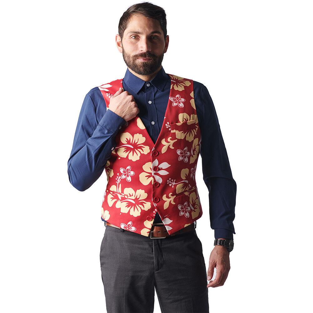 The Big Kahuna Red Floral Print Hawaiian Vest