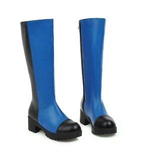 Fashion-Womens-Knee-high-Boots-PU-Leather-Chunky-Heel-Side-Zip-Round-Toe-Shoes