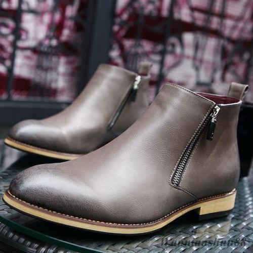 MEN NEW HANDMADE FORMAL LEATHER SHOES MENS BROWNISH GRAY OXFORD ZIP ANKLE BOOTS