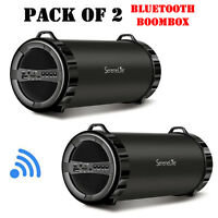 Pack Of (2) Serenelife Slbsp11 Compact Bt Boombox, Mp3/usb/micro Sd/fm Radio on sale