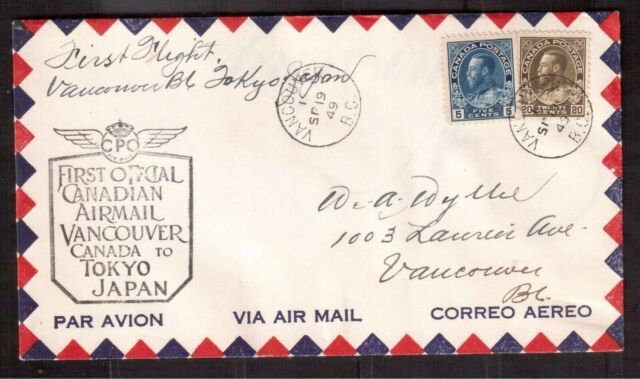 CANADA 1949 FIRST FLIGHT COVER #111 & 119, VANCOUVER CANADA-TOKYO JAPAN !!