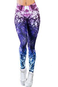 Damen-Sport-Leggings-Hose-Fitness-Active-Pants-Training-gemustert-lila-34-36