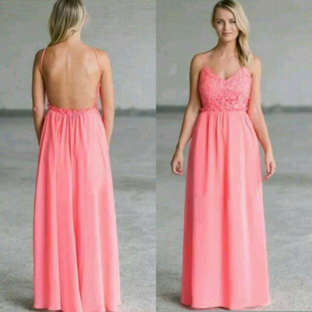 b3d05d8956 SOIEBLU Coral Pink Crochet Lace Top Maxi Dress Open Back Backless Flowey  MEDIUM