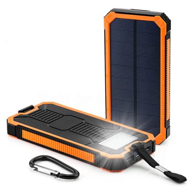 2USB 300000mAh Power Bank Ricarica Solare +Cavo+Box+Moschettone Per Smartphone