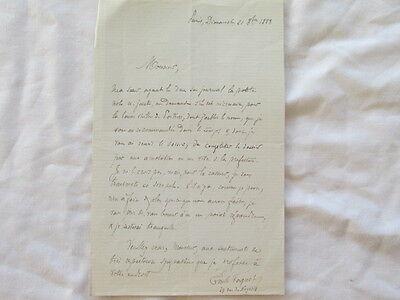 lettre authographe de Emile Faguet 21/08/1888