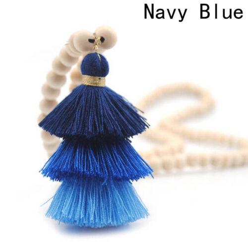 Colorful Tassel Necklace Bead Chain Pendant Sweater Long Bohemian Women Jewelry