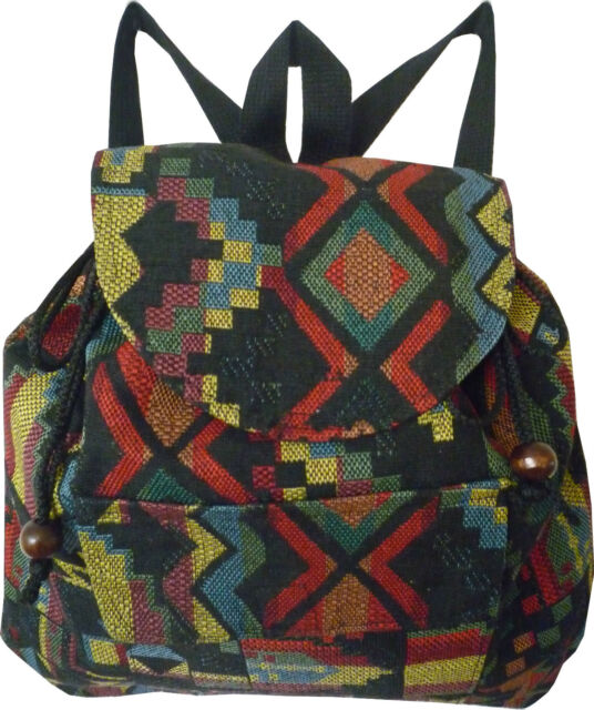 Womens Textil Backpack Rucksack Small Hand Woven Cotton Hippie Retro School