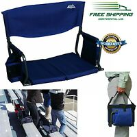 Portable Padded Stadium Chair Seat Bench Foldable Arm Backrest Cushion Bleacher