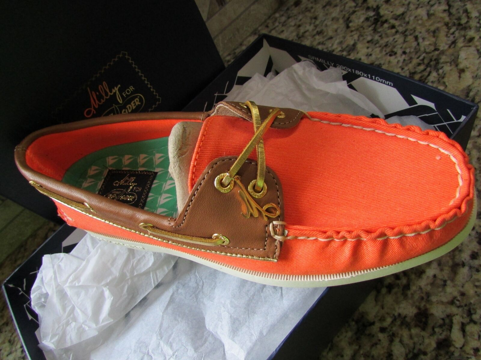 NEW SPERRY TOP-SIDER A/O ORANGE CVS COGNAC BOAT SCARPE Donna 7.5 FREE SHIP  130