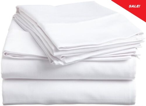 4 new white 90x110 t200 long staple cotton sheet queen hotel grade flat quality