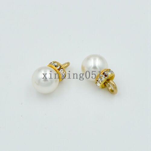 8mm//12mm ABS Round Crysta Rhinestone pearl eardrop//pendants jewelry making DIY
