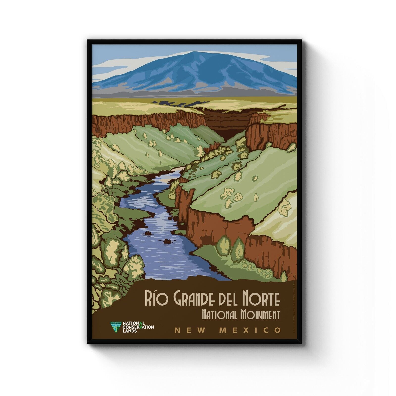 jahrgang Rio Grande AdGrün New Mexico USA Travel kunst Poster drucken  A4 - B1 Framed