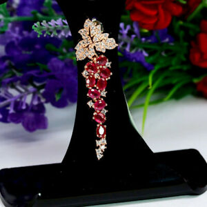 NATURAL-RED-RUBY-amp-WHITE-CZ-LONG-PENDANT-925-STERLING-SILVER