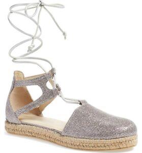 Stuart-Weitzman-NIB-Walk-My-Way-Silver-Espadrille-Sandals-Size-8-5-B-Retail-355
