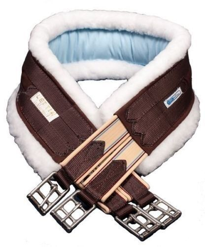 Lettia CoolMax Fleece Lined English Girth w Elastic - Chocolate - All Sizes