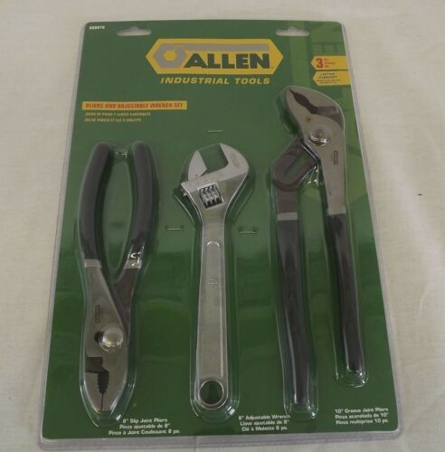 New Allen 66601G Pliers /& Adjustable Wrench Set