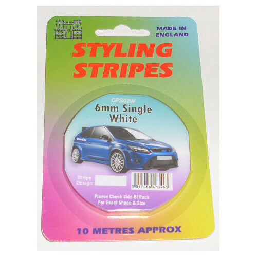 6mm WHITE PIN STRIPE COACHLINE TAPE x 10 METRE ARTS AND CRAFT DECORATIVE