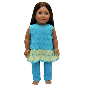 18-034-DOLL-CLOTHES-Fits-AMERICAN-GIRL-Teal-Legging-Set-Pants-amp-Top-Outfit-Clothing