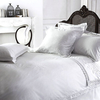 Luxury White Vintage Shabby Chic Lace 100% Cotton Bedding