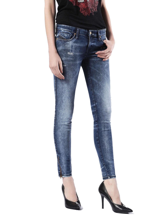 DIESEL SKINZEE-Low-zip 0674k JEANS donna pantaloni skinny super slim