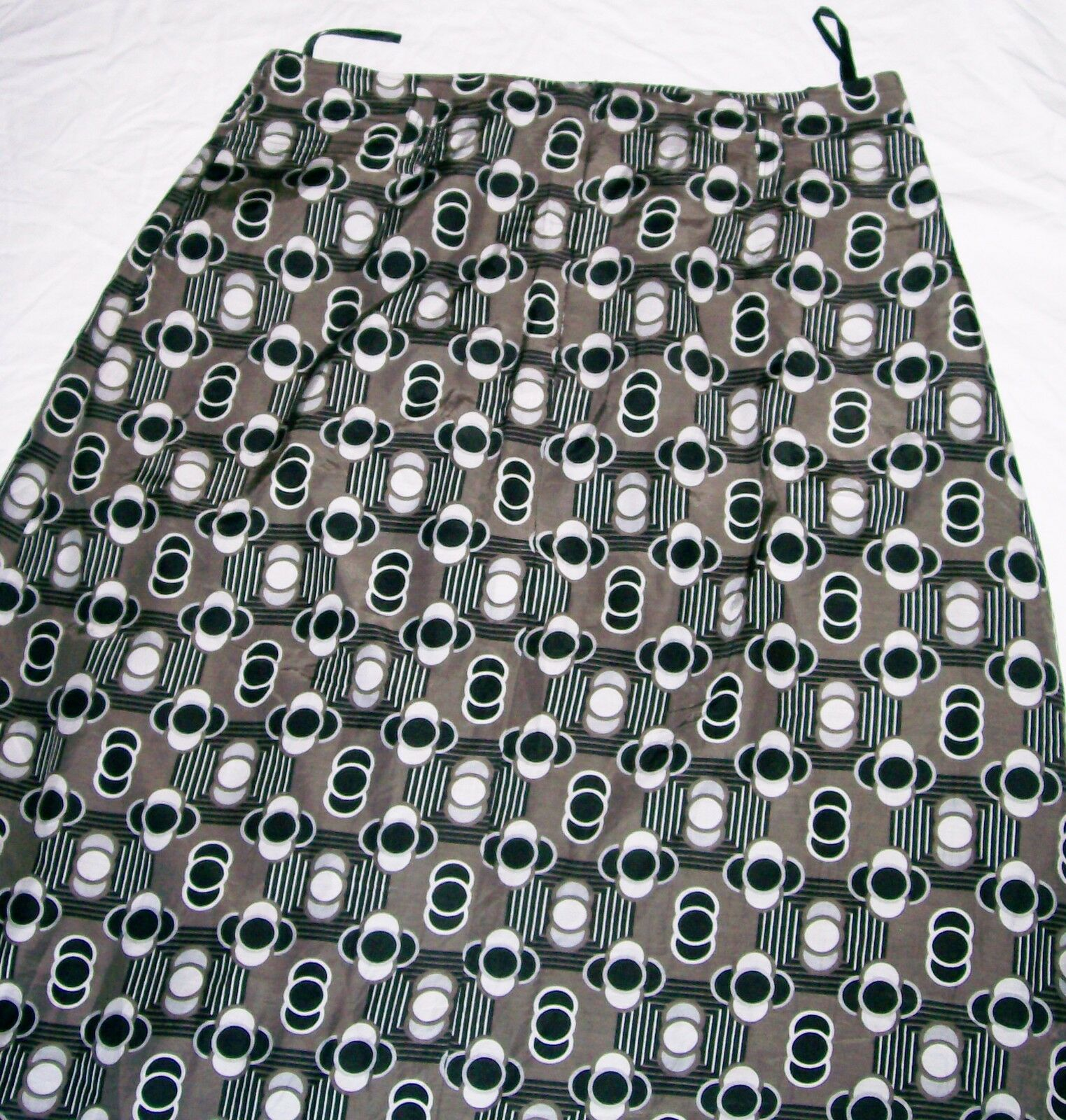 Hirsch Geometric Skirt brown taupe cotton blend lined knee length Size 16 New