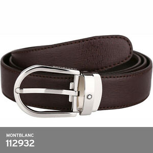6d19fb17722b Image is loading montblanc-112932-Brown-Leather-Belt-Grained-Effect-Silver-