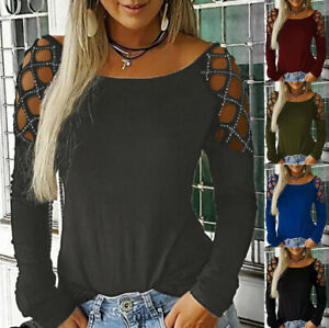Women-Crew-Neck-Hollow-Out-Blouse-Studded-Long-Sleeve-T-Shirts-Casual-Tops