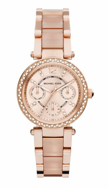 Michael Kors Mini-Parker Ladies Watch MK6110 PVD Rose Gold-Tone Case and Dial