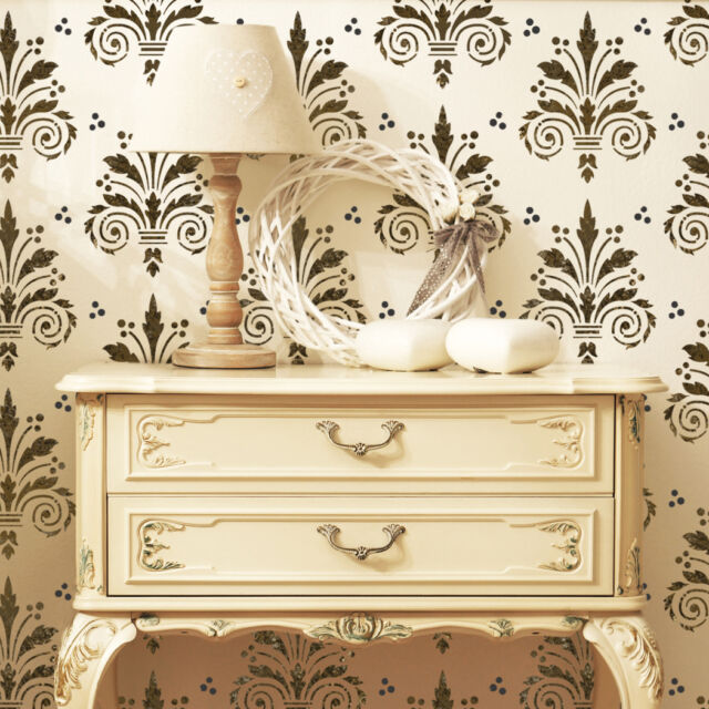 Wall Damask Allover Stencil Terri for Decorative DIY Wall Decor