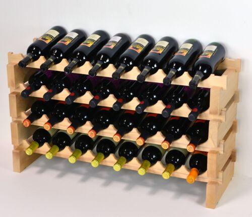 Modular Stackable Wine Rack 32-96 Bottles Capacity Solid Beechwood Wine Racks 8X