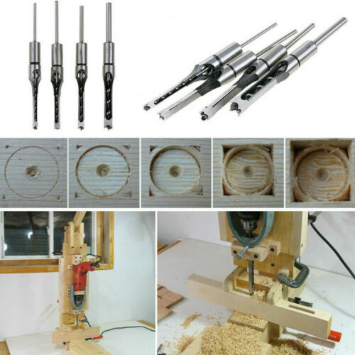 Drill Bit Wood working Square Hole Chisel Mortising Kit Mortise Tenon Wool Tool