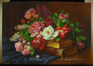 Chromolithography-Flowers-Roses-And-Books-Hardcover-Towards-1930-amp-Old