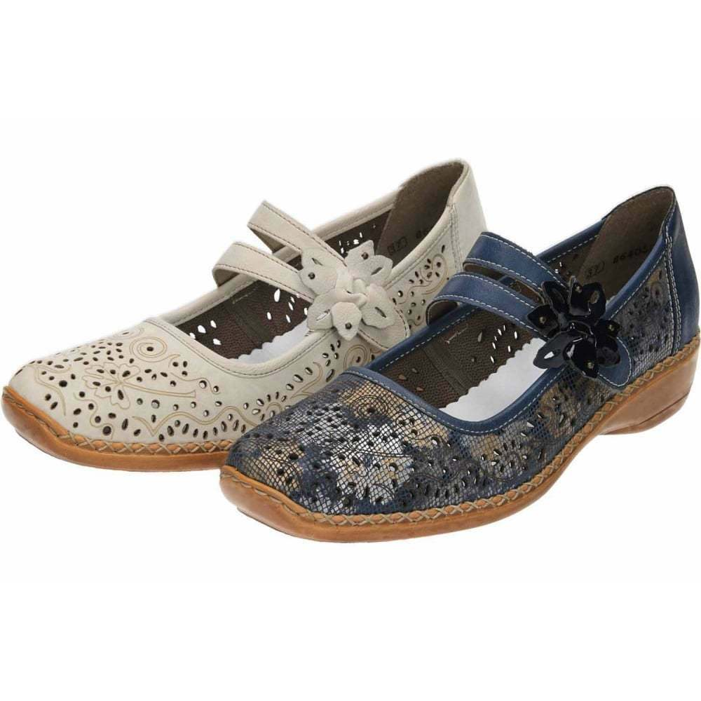 Rieker Casual Leather Mary Jane Flat Cut Out Shoes 41372-60 90 Antistress