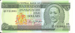 Central-Bank-of-Barbados-1975-ND-5-Five-Dollars-P-32-AU-Sir-Frank-Worrell
