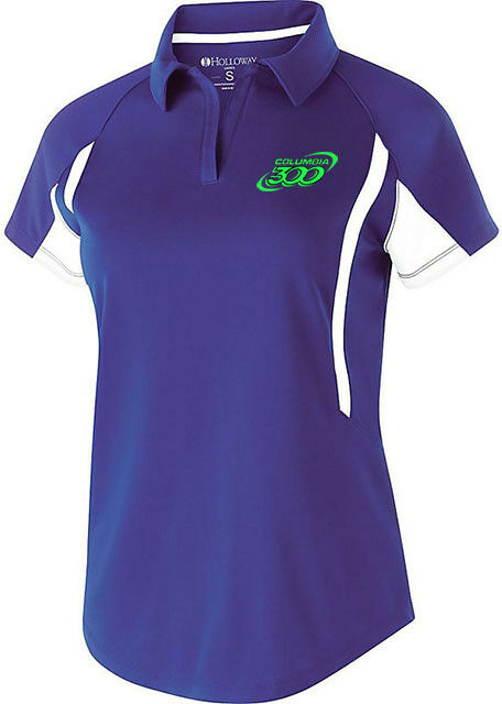 Columbia 300 Women's Messenger Performance Polo Bowling Shirt Purple Lime