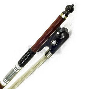 New-Hi-Quality-44-Violin-Bow-Brazilwood-Yak-Horn-Frog-Abalone-Silver-Wrap-Black