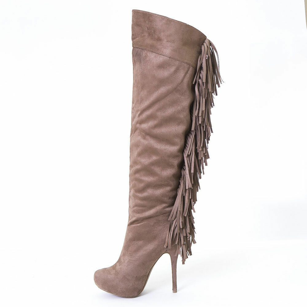 WILD DIVA HOT SEXY TAUPE FAUX SUEDE FASHION BOOT US9