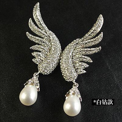 Boucles d/'Oreilles Clous Extravagant Aile Perle Goutte Argenté Soirée XX 3
