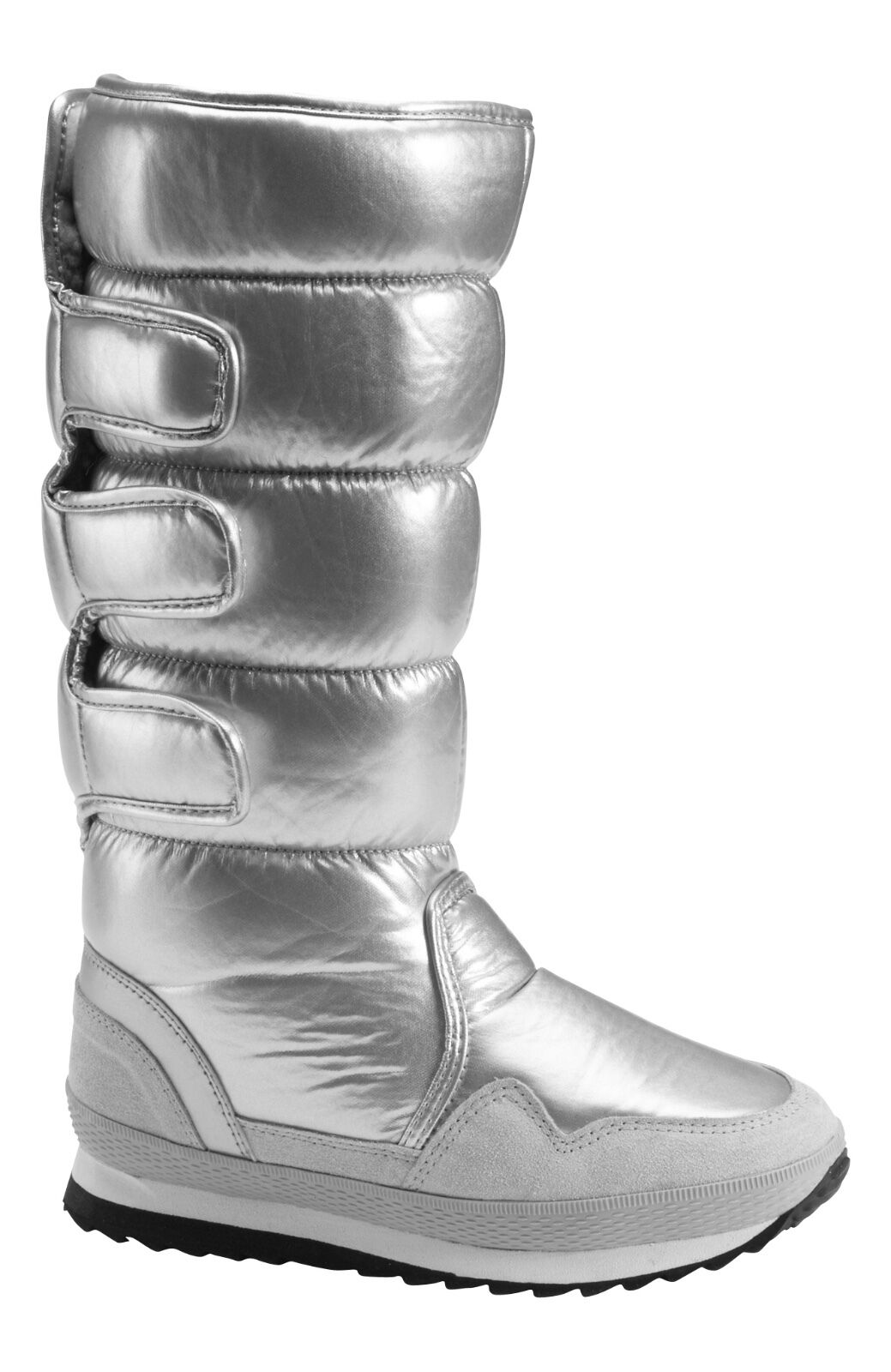 LADIES SUPER WINTER WARM FUR LINED MOON SILVER SNOW BOOTS SIZE 7 7.5