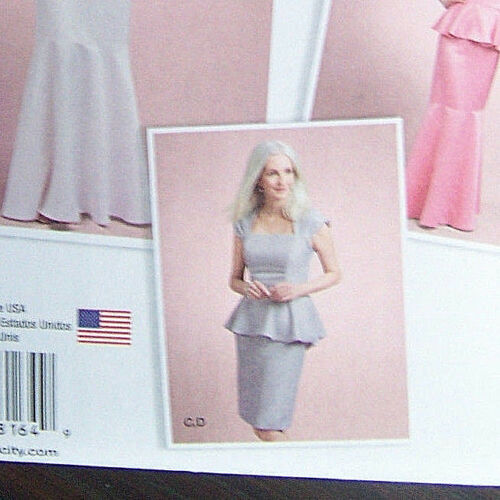 NEW pattern BRIDAL GOWN dress 2 piece peplum slim flared skirt sz 4-12 PROM WOW!