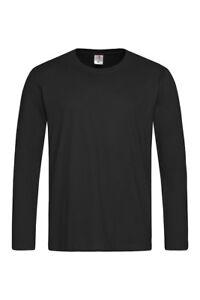 24f78716 Mens Plain BLACK Long Sleeve Cotton Tee T-Shirt Tshirt Blank No ...