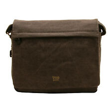 Troop London - Black Canvas Classic Laptop Messenger Bag with Leather Trim