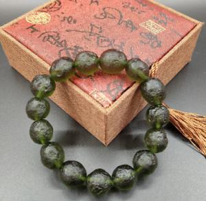 Green Gem Moldavite Meteorite Impact Class Czech bracelet