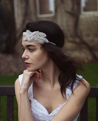 Silver Rhinestone Headdress Diamante Bridal Wedding Elasticated Headband Vtg L80