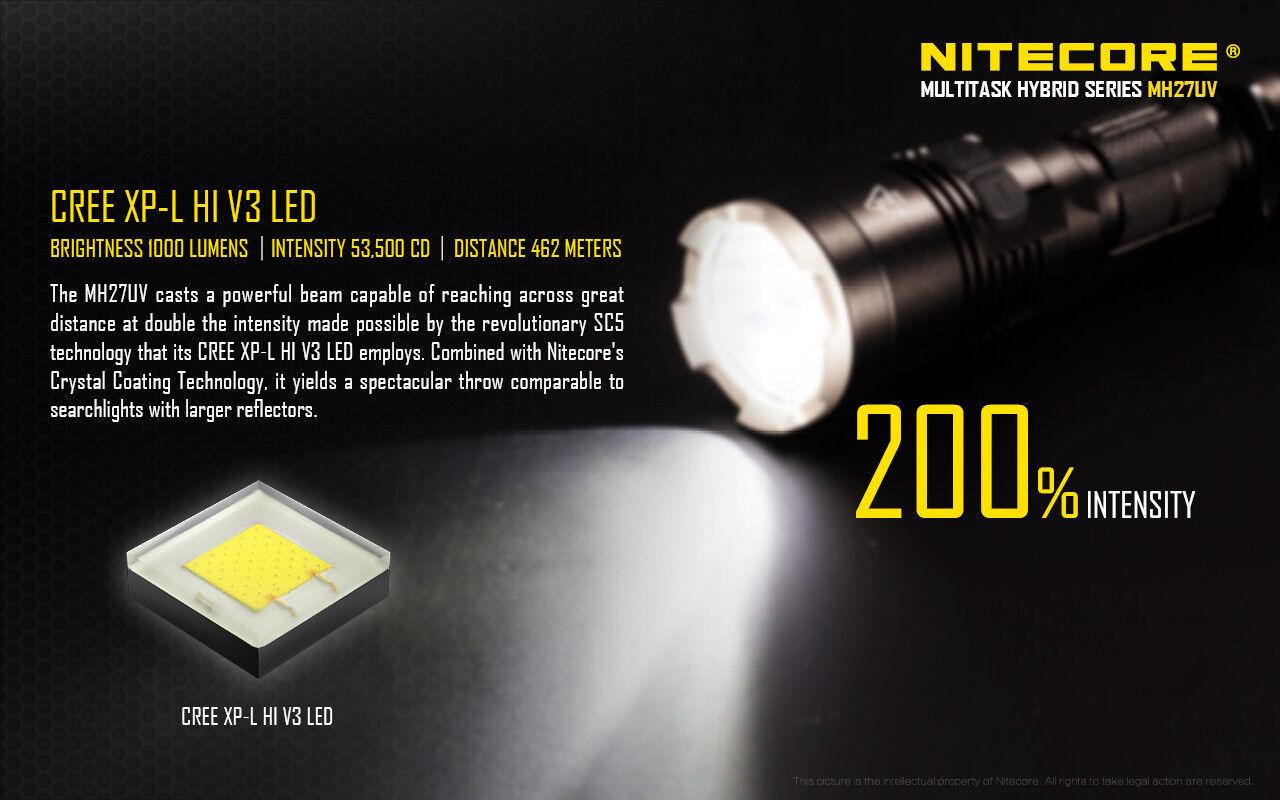 New NITECORE MH27UV 1000 lm USB Rechargeable Lampe De Poche Avec rouge, bleu & UV DEL